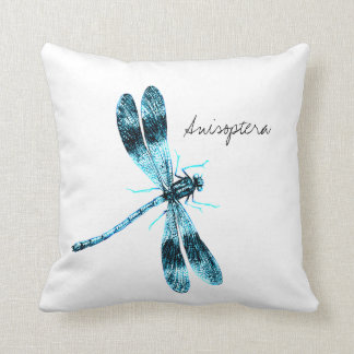 Vintage Insects Dragonfly illustration Throw Pillow