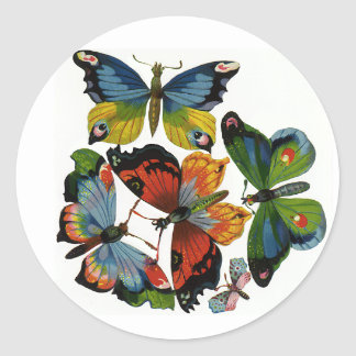 Vintage Insects or Bugs, Beautiful Butterflies Classic Round Sticker