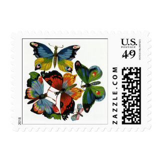 Vintage Insects or Bugs, Beautiful Butterflies Postage