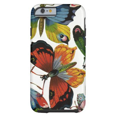 Vintage Insects or Bugs, Beautiful Butterflies Tough iPhone 6 Case