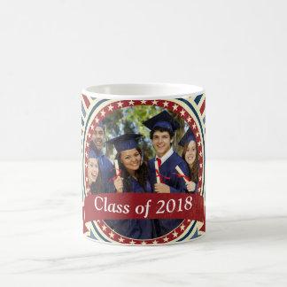 Vintage insert graduation photo red blue template coffee mug