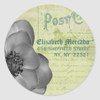 Vintage Inspired Address Envelope Seal Classic Round Sticker
