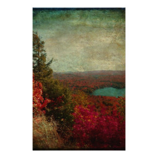 Vintage Inspired Adirondack Mountains Fall Color Personalized Stationery