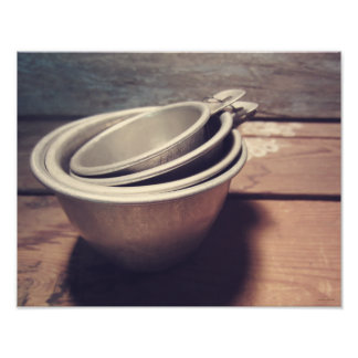 Vintage Inspired Aluminum Measuring Cups Photographic Print