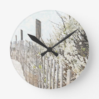 Vintage Inspired Cape Cod White Flowers Sand Fence Wallclock