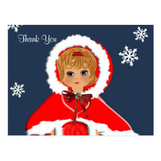 Vintage Inspired Cute Little Girl Thank You Cards