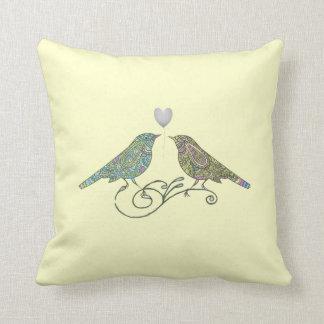Vintage Inspired Cute Love Birds Yellow Green Blue Throw Pillows
