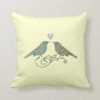 Vintage Inspired Cute Love Birds Yellow Green Blue Throw Pillow