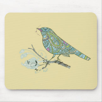 Vintage Inspired Cute Patterned Bird On A Branch Mouse Pads