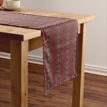 Beach Themed Vintage-Inspired Dark Red Striped Table Runner
