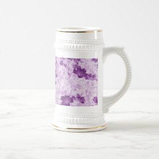 Vintage Inspired Floral Mauve 18 Oz Beer Stein