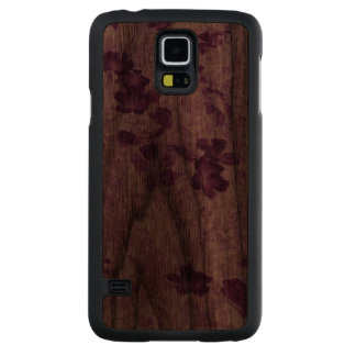 Vintage Inspired Floral Mauve Carved® Walnut Galaxy S5 Case