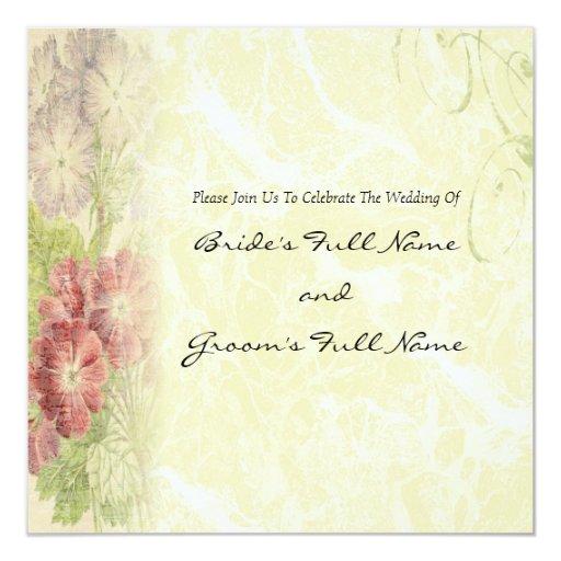 Vintage Inspired Floral Wedding Invitation