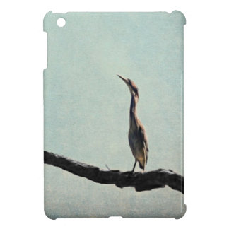 Vintage Inspired Green Heron on Pale Blue Cover For The iPad Mini