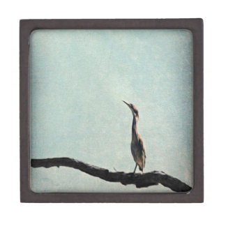 Vintage Inspired Green Heron on Pale Blue Premium Jewelry Box