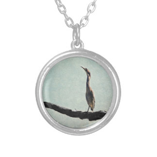 Vintage Inspired Green Heron on Pale Blue Round Pendant Necklace