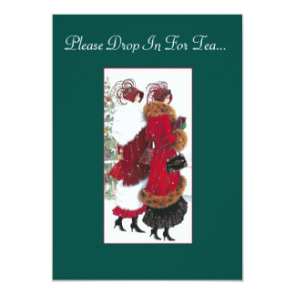 Vintage Inspired Holiday Tea Party Invitation. Card