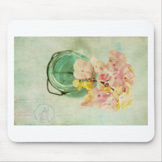 Vintage Inspired Hydrangea in Blue Glass Jar Mouse Pad