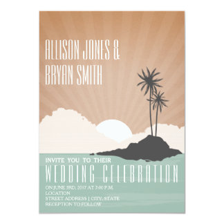 Vintage Inspired Island Beach Wedding Invitation