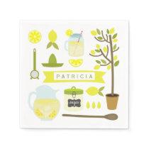Vintage Inspired Lemonade Pattern Paper Napkin