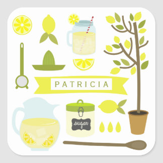 Vintage Inspired Lemonade Pattern Sticker