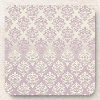 Vintage Inspired Mauve Pink  Beige Damask Coasters