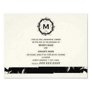 Vintage Inspired Monogram Rehearsal Dinner - Black Card
