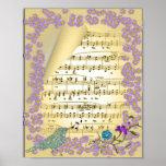 Vintage Inspired Music Bird Floral Poster Print