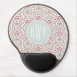 Vintage Inspired Pink and Green Pattern Monogram Gel Mouse Pads