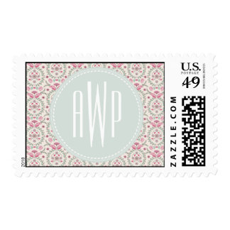 Vintage Inspired Pink and Green Pattern Monogram Postage Stamp