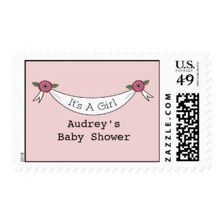 Vintage Inspired Pink Baby Shower Stamps