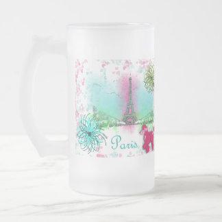 Vintage Inspired Pink Poodles Paris Theme Frosted Glass Beer Mug