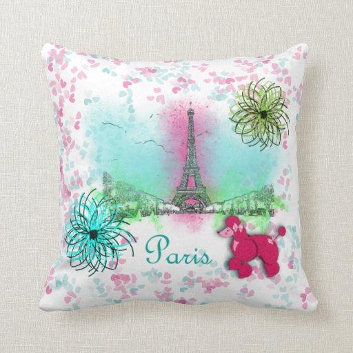 Vintage Inspired Throw Pillows : Vintage Inspired Pink Poodles Paris Theme Throw Pillow Zazzle
