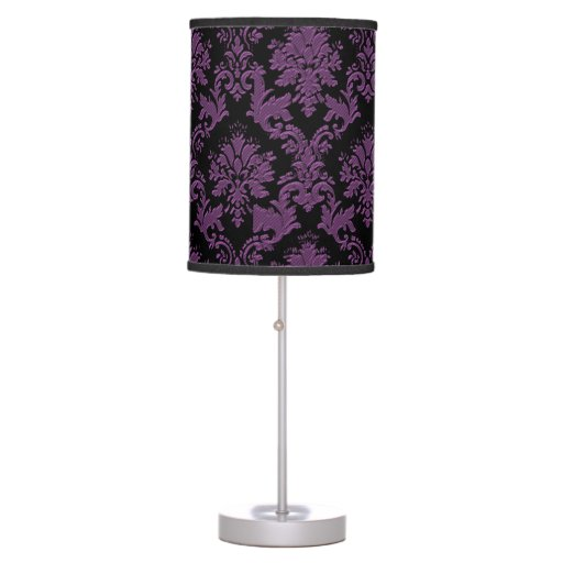 Vintage Inspired Purple and Black Damask Lamp