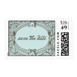 vintage inspired save the date stamp