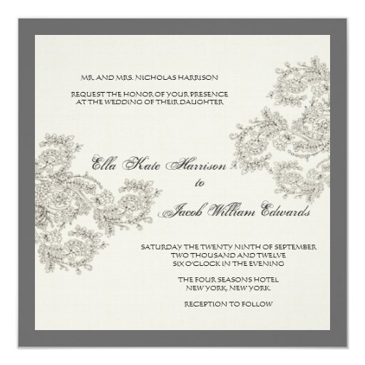 "Vintage Inspired Wedding Invite // Charcoal 5.25"" Square Invitation Card"