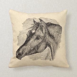Vintage Intelligent Horse on Parchment Template Pillows