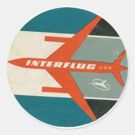 Vintage Interflug Luggage Label Reproduction Round Sticker