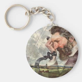 Vintage Inventor, Alexander Graham Bell Telephone Keychain