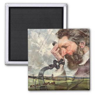 Vintage Inventor, Alexander Graham Bell Telephone 2 Inch Square Magnet