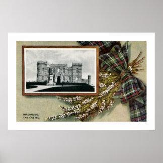 Vintage Inverness castle traditional Scottish Posters