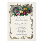 """Vintage invitation with frame and roses 5"""" x 7"""" invitation card"""