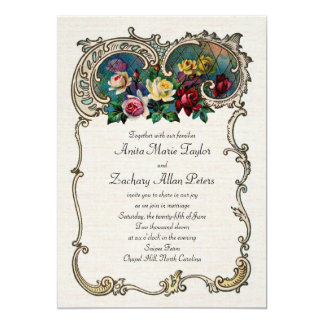 Vintage invitation with frame and roses