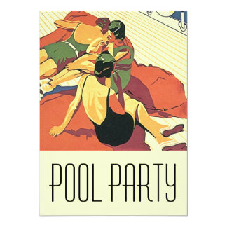 Vintage Invitations Pool Party Cool Deco Swimmers