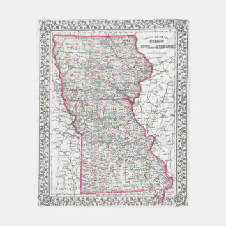 Vintage Iowa and Missouri Map (1874) Fleece Blanket
