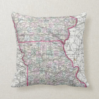 Vintage Iowa and Missouri Map (1874) Throw Pillow