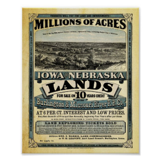 Vintage Iowa and Nebraska Land Sale Print