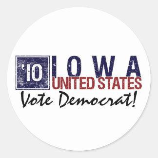 Vintage Iowa de Demócrata del voto en 2010 - Pegatina Redonda