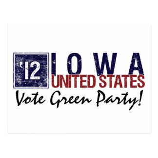 Vintage Iowa del Partido Verde del voto en 2012 - Postal