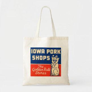 Vintage Iowa Pork Shop Pig Advertisement Bag